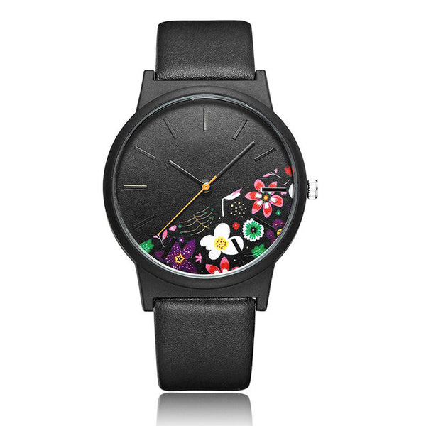 UNISEX Floral/Tropical Jungle Themed Wristwatch w/ Leather Strap