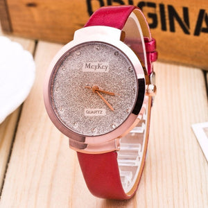 Quartz Wristwatch w/ Genuine Leather Band