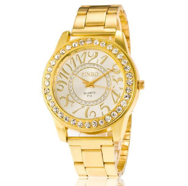 Gold Wristwatch w Stainless Steel Bans