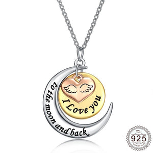 Heart/Solar/Lunar Pendant Necklace w/ 925 Sterling Silver & White Gold