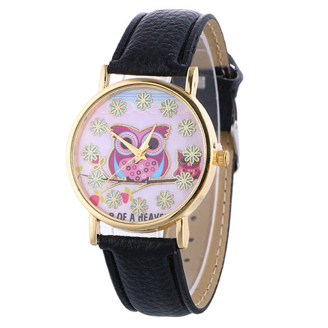 Owl Themed Quartz Watch w/ Leather Band