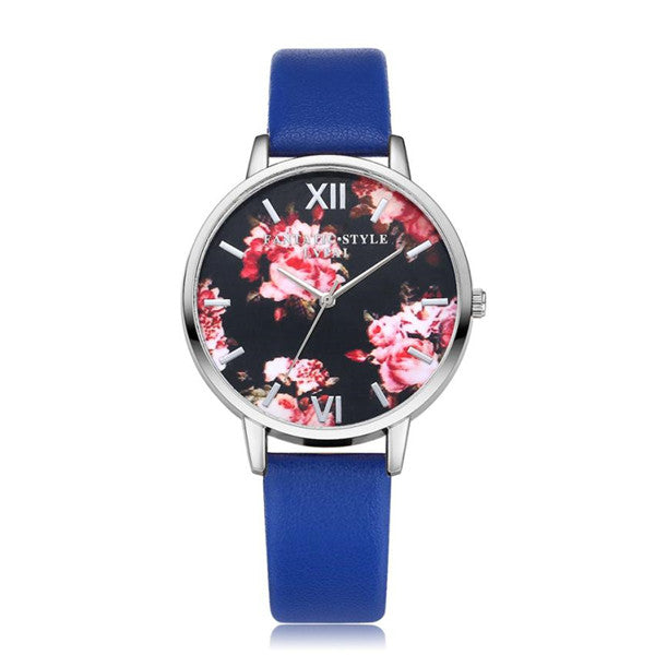 Floral Themed Quartz Wristwatch w/ Leather Band