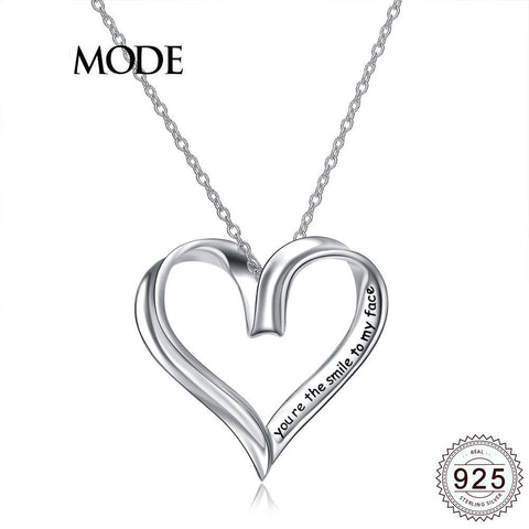 Heart Themed Pendant Necklace w/ S925 Silver & White Gold