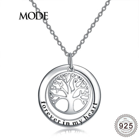Tree Of Life Themed Pendant Necklace w/ S925 Silver & White Gold