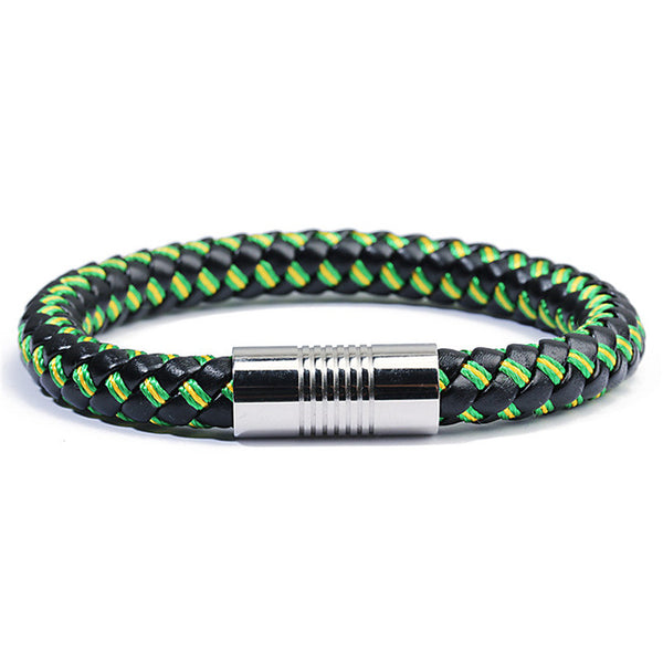 UNISEX Leather Braided Bracelet w/ Steel Clasp