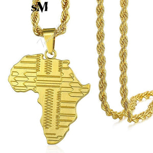 UNISEX Gold Africa Pendant Necklace