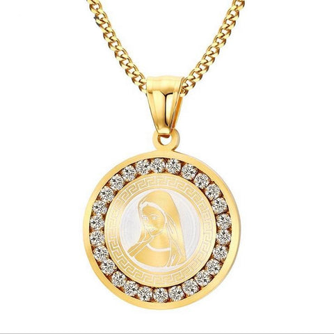 Gold Virgin Mary Pendant Urban Imitation Diamond Necklace