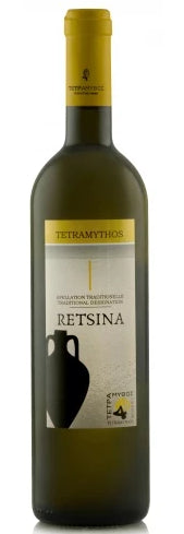 Tetramythos Retsina Organic, PDO Method Traditionelle, Greece 2017 - Borders Wines