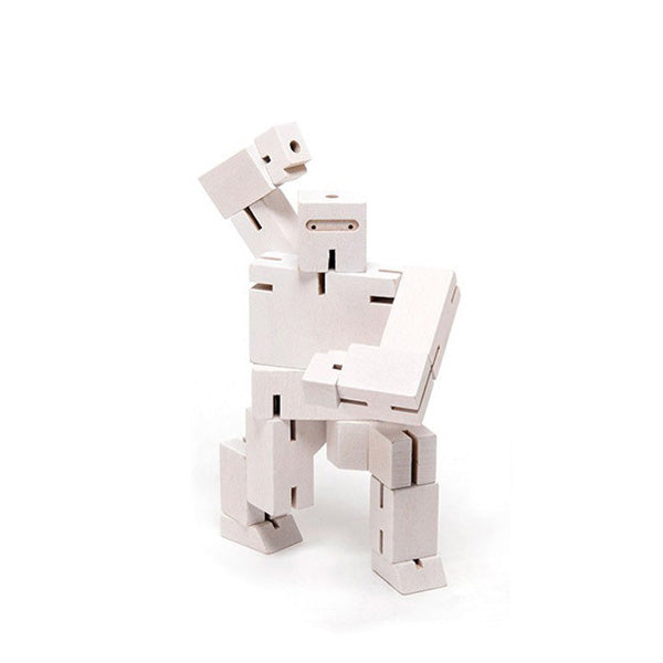 Areaware wooden toys cubebot white small puzzle