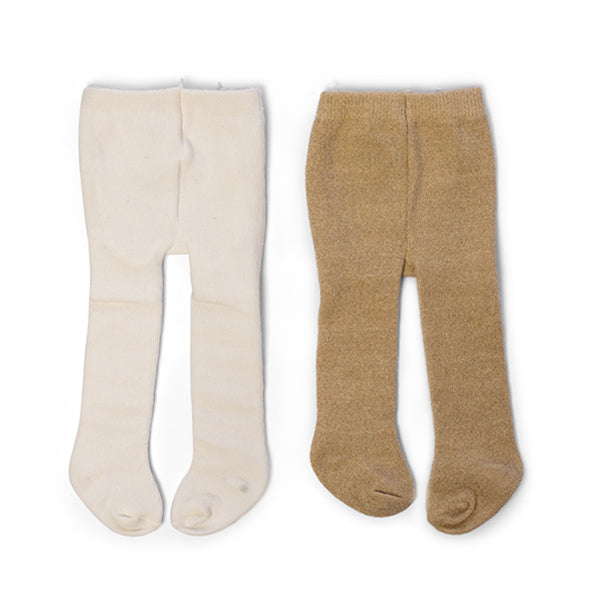 By Astrup Doll Tights, 2 Pair - Cream & Gold