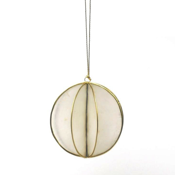 Ball Shaped Christmas Ornament - Brass
