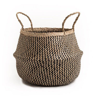 Seagrass Belly Basket Zigzag – Black