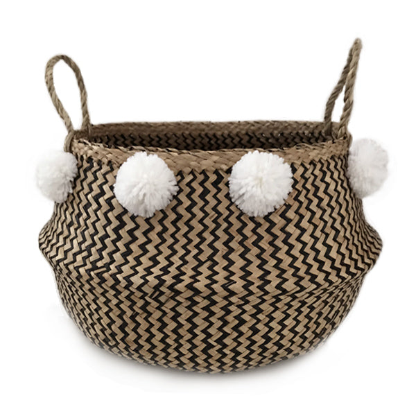 Seagrass Belly Basket Zigzag Black – White Pom Pom