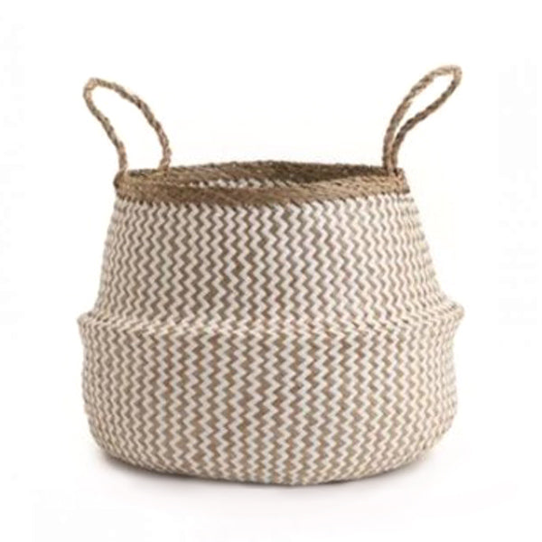 Seagrass Belly Basket Zigzag - White