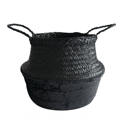 Black Sequin Dipped Seagrass Basket – Black
