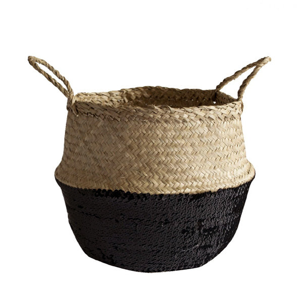 Black Sequin Dipped Seagrass Basket – Natural