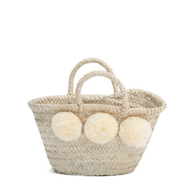 Bohemia Design Mini Pom Pom Basket – Cream