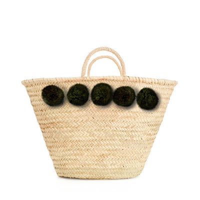 Bohemia Design Pom Pom Basket – Forest Green