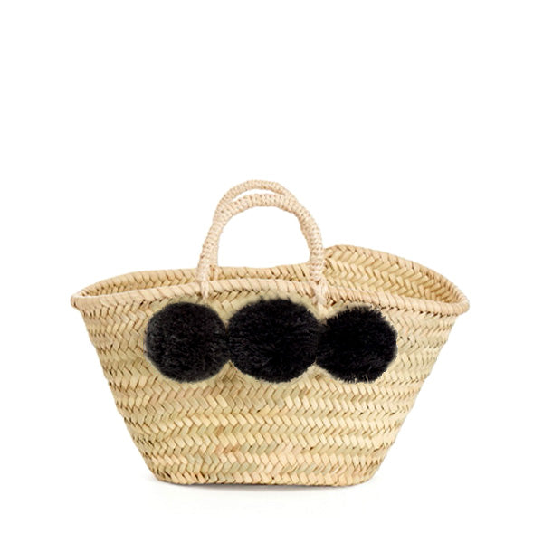 Bohemia Design Mini Pom Pom Basket – Black
