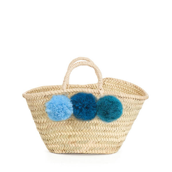 Bohemia Design Mini Pom Pom Basket – Blue Ombre
