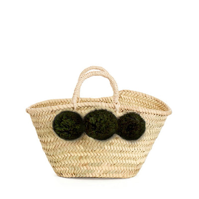 Bohemia Design Mini Pom Pom Basket – Forest Green