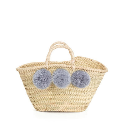 Bohemia Design Mini Pom Pom Basket – Grey