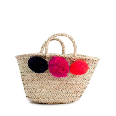 Bohemia Design Mini Pom Pom Basket – Navy Fuchsia Orange