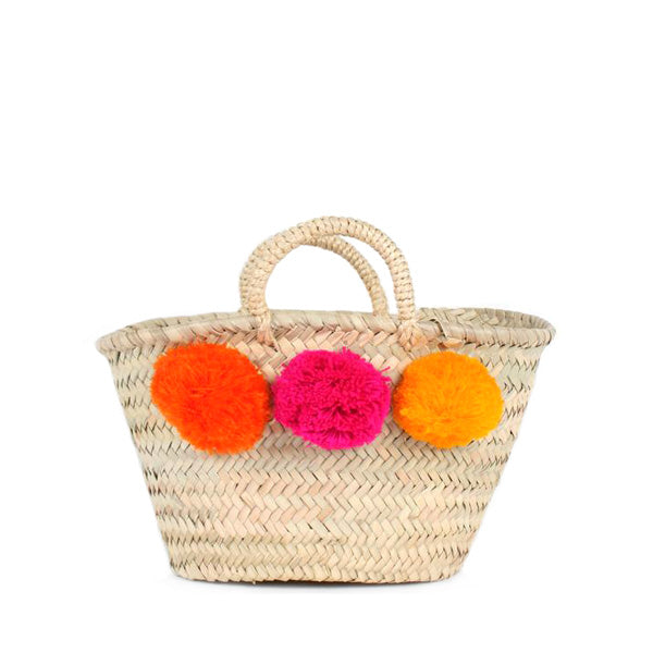 Bohemia Design Mini Pom Pom Basket – Orange Pink Yellow
