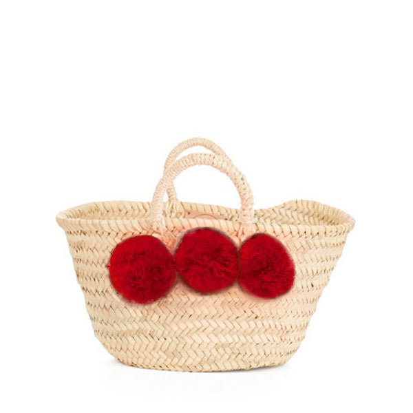 Bohemia Design Mini Pom Pom Basket – Red