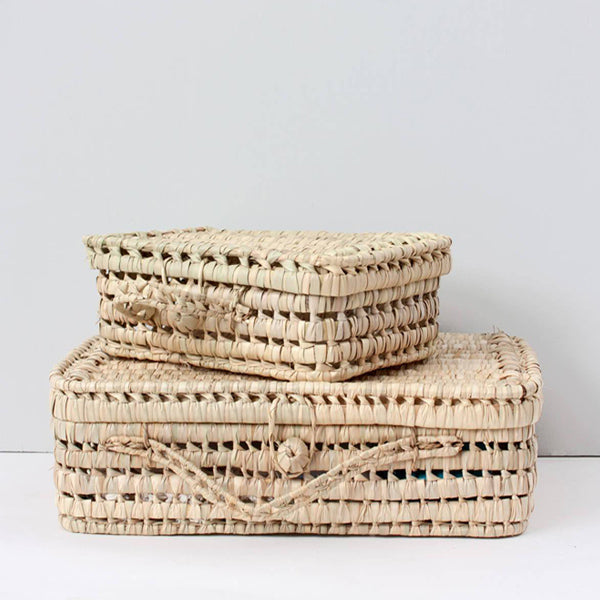 Bohemia Design Woven Palm Leaf Suitcase