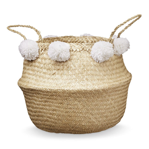 Cam Cam Copenhagen Pom Pom Belly Basket - White