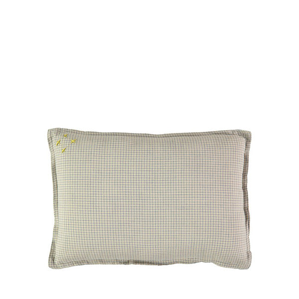 Camomile London Limited Edition Graph Check Cushion – Blue/Natural