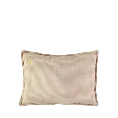 Camomile London Limited Edition Graph Check Cushion – Cinnamon/Natural