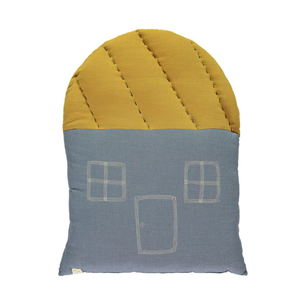 Camomile London Large House Cushion – Mini Check/Ochre