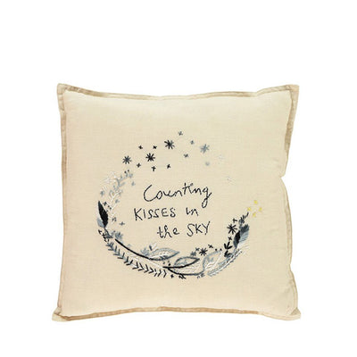 Camomile London Hand Embroidered Cushion 'Counting Kisses' – Black
