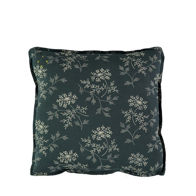 Camomile London Padded Cushion Hanako Floral – Thunder Blue