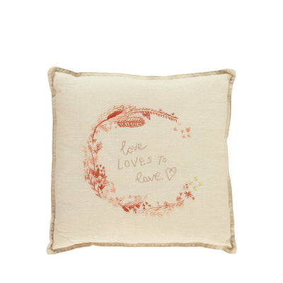 Camomile London Hand Embroidered Cushion 'Love' – Peach