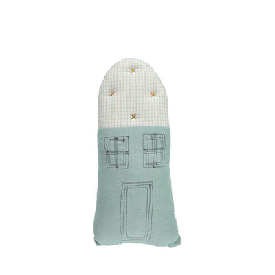 Camomile London Petit House Cushion – Light Teal/Check