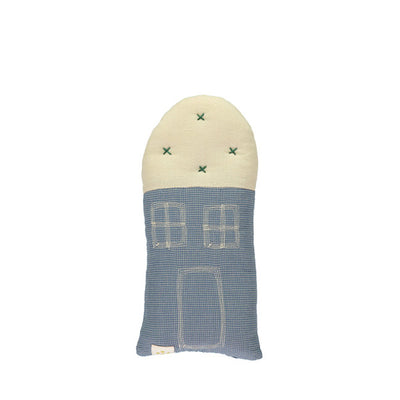 Camomile London Petit House Cushion – Mini Check Blue