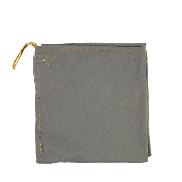 Camomile London Single Layer Swaddle Blanket – Slate Grey