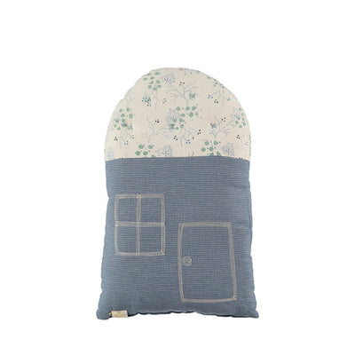 Camomile London Small House Cushion – Minako Cornflower/Mini Check Blue