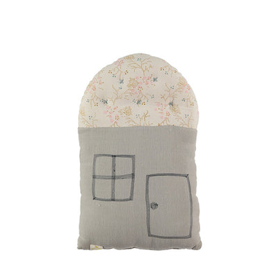 Camomile London Small House Cushion – Minako Golden/Soft Grey
