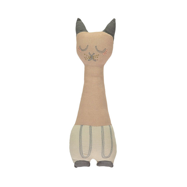 Camomile London Tall Cat Cushion – Peach Blossom/Stone