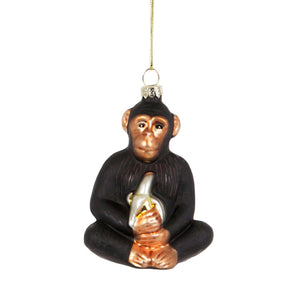 Glass Shaped Christmas Bauble - Chimpanzee