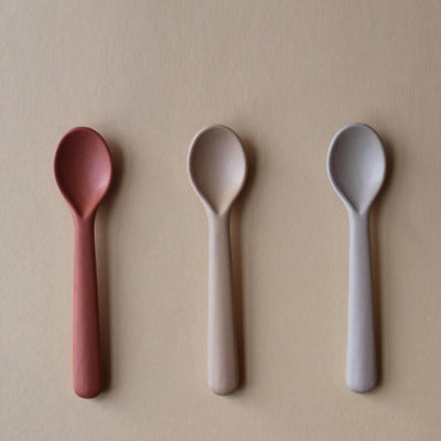 Cink Bamboo Toddler Spoon 3 Pack - Fog Rye Brick