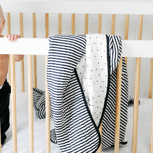 Clementine Kids Reversible Quilt – Black and White Stripe
