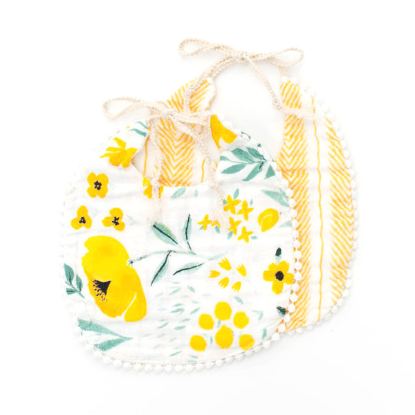Clementine Kids Bib 2-Pack - Buttercup Blossom and Mustard Herringbone