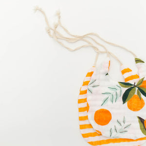 Clementine Kids Bib 2-Pack - Clementine and Citrus Stripe
