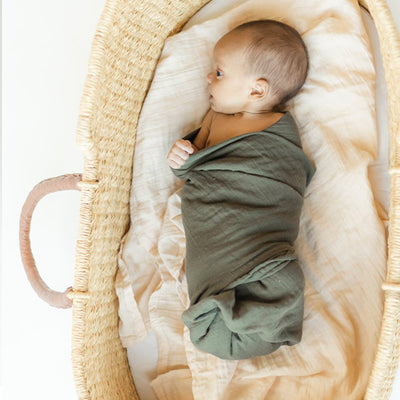 Clementine Kids Heirloom Swaddle – Deep Olive