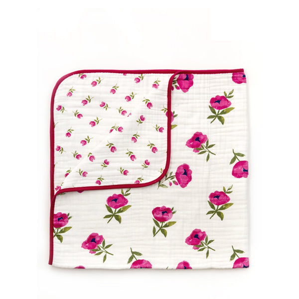 Clementine Kids Reversible Quilt – Raspberry Peony